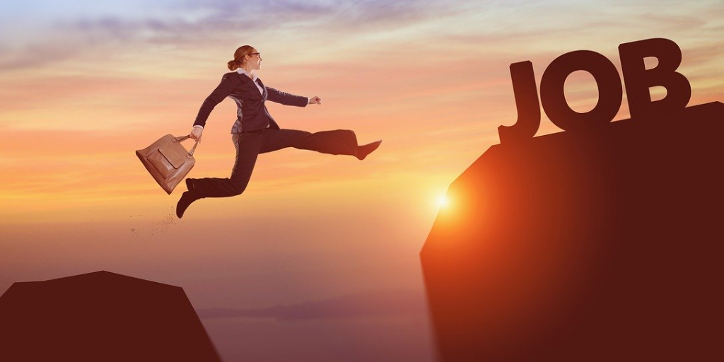 Image of lady jumping between mountains to job